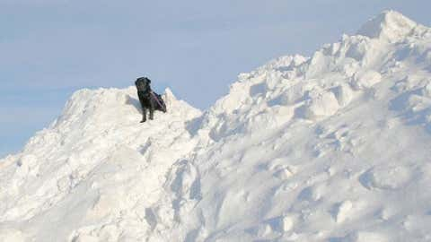 Fayette, located in the northeast corner of the state, recorded 21 inches of snow on March 6, 1959. Image: Dog standing on a big snow pile in Waterloo from iWitness Weather contributor mykgol.