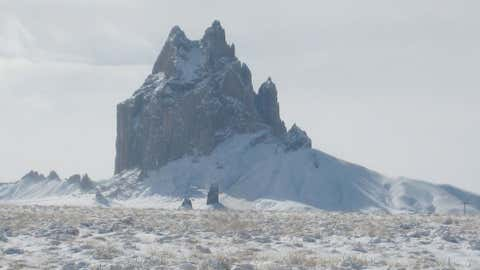 In far northeast New Mexico, Abbott reported three feet of snow on November 24, 1940. Image: Shiprock covered by snow in the northwest part of the state. From iWitness Weather contributor hellokitty.