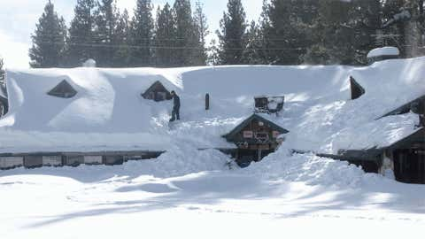 The National Weather Service in Reno, Nev. measured 26 inches of snow on December 30, 2004. Image: Shoveling snow off the roof between Reno and Lake Tahoe in December 2010 from iWitness Weather contributor Nancy Guthe Scott.