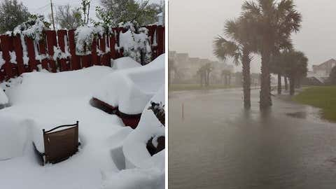 19 inches of snow piled up in Crawford, Nebraska, while Tropical Storm Ana soaked Ocean Isle Beach, North Carolina on May 10, 2015. (Lisa Aschwege via KNEB-TV, left; Greg Agee, right)