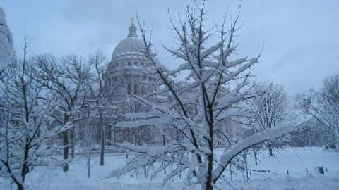 25 inches of snow was measured in Trempealeau on January 20, 1952. Image: A wintry view of the Wisconsin capitol city Madison. From iWitness Weather contributor ILvwthr25.