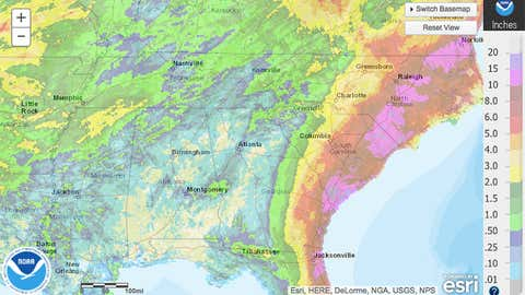 Estimated 30-day rainfall ending at 8 a.m. EDT on November 4, 2016. Dearth of rainfall in western Georgia, Alabama and the western Florida panhandle is denoted by tan shading. (NOAA/NWS)