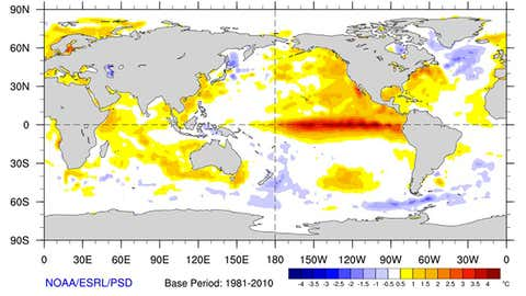 Monthly sea-surface temperature anomalies from Nov. 1-28, 2015 compared to 1981-2010 base period. (NOAA/ESRL/PSD)