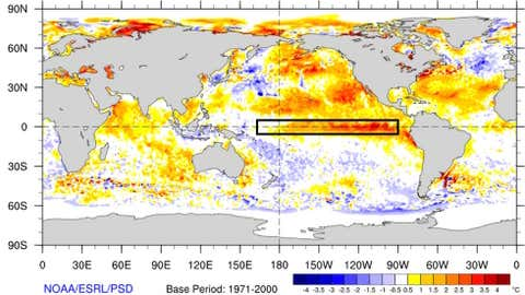 Daily sea-surface temperature anomalies over the Pacific Ocean on Sep. 8, 2015, relative to 1971-2000 average. (NOAA/ESRL/PSD)