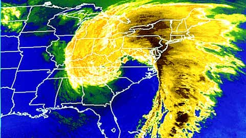 """Infrared satellite image of the """"Superstorm"""" at 1 p.m. EST on March 13, 1993. (NOAA)"""