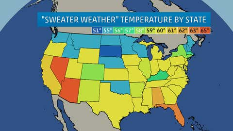 Based on a survey, the median temperature by state identified as the cutoff for needing a sweater.