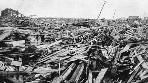 An image from Galveston, Texas showing destruction caused by a hurricane in 1900.