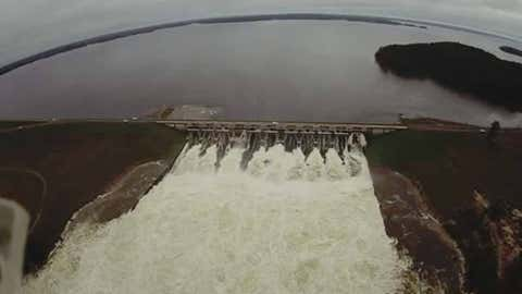 Aerial view of the Toledo Bend Dam near Burkeville, Texas, on Mar. 10, 2016. At the time, a record release of 207,644 cubic feet per second, or abou 1.5 million gallons per second, was occurring. (Vernon Parish Sheriff's Office Deputy Rusty Bailey)
