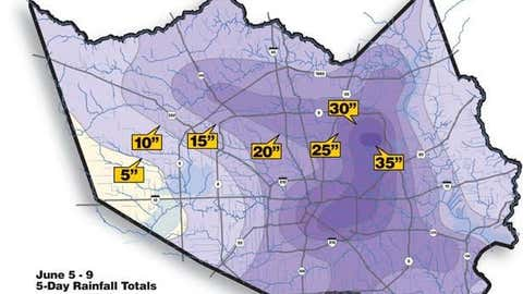 Up to 40 inches of rain was dumped on the Houston, texas area from Allison