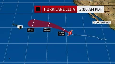 Forecast Track For Tropical Storm Celia (cone in red) as depicted on weather.com July 11, 2016.