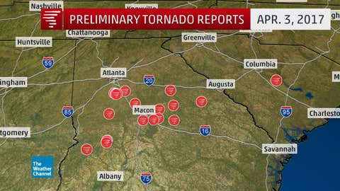 Preliminary tornado reports on April 3, 2017. Note these may not necessarily correspond to the actual number/locations of tornadoes, which are determined by NWS damage surveys. (NOAA/NWS/SPC)
