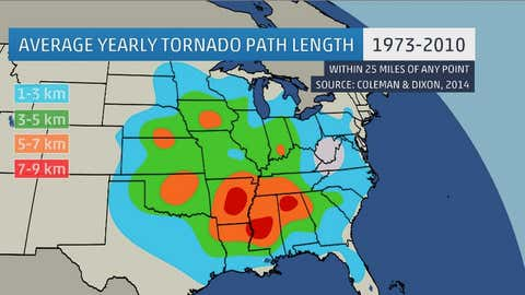 Analysis showing the average annual path length (in kilometers) of all F/EF2 and stronger tornadoes passing within 40 kilometers (25 miles) of a point between 1973 and 2010.  (Coleman and Dixon, 2014)