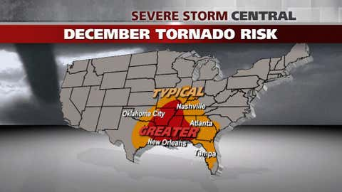 30-year average number of tornadoes through 2011: 25
