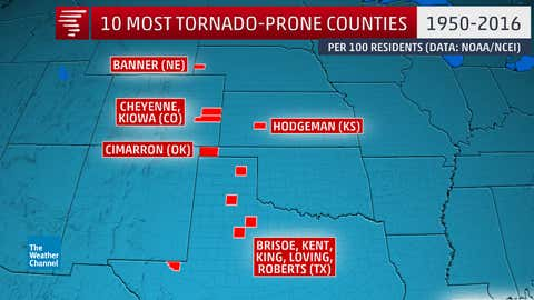 The 10 counties with the most tornado segments (as defined above) per 100 residents from 1950-2016. (Data: NOAA/NCEI; U.S. Census Bureau)