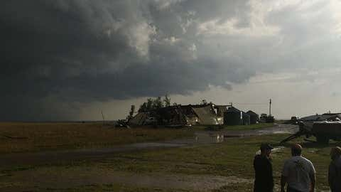 A building hit by storms in Elmer, Oklahoma. (darren3lucas/Instagram)