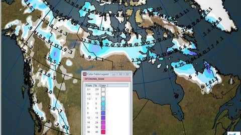 Canada total snow forecast for weekend of Sept. 30 - Oct. 1.