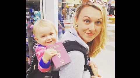 Karen Edwards, her partner Shaun Baynes and their daughter Esmé have been traveling the world. (Instagram/travelmadmum)