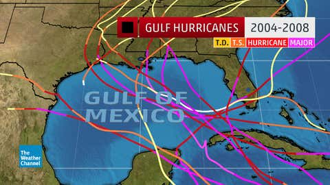 Tracks of 12 hurricanes in the Gulf of Mexico (north of 22 degrees north latitude) from the 2004 through 2008 hurricane seasons.