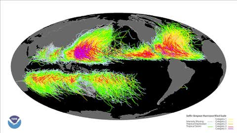 Track of all known global tropical cyclone tracks from 1851-2008. (NOAA)
