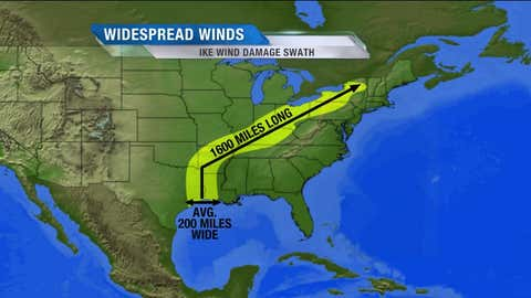 A graphic highlighting the large swath of damaging winds associated with Hurricane Ike.