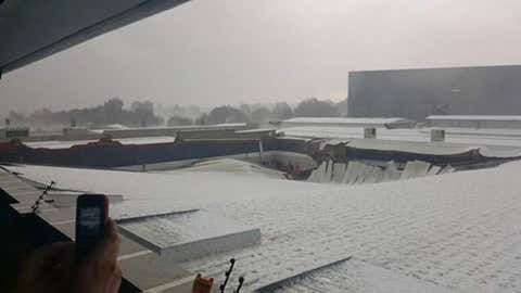 The roof of the Key West Shopping Center in Krugersdorp, South Africa, collapsed during a hailstorm on Jan. 9. (Twitter/@cindyseeber)