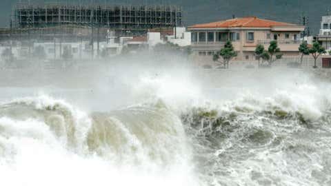 Typhoon Bolaven lashes the coast of Japan's island of Okinawa