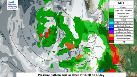 Weather chart reveals low pressure moving in over the UK Friday - May 19.