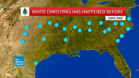Southern cities that have observed at least one white Christmas in their recorded history. (Data: NWS/NOWDATA)