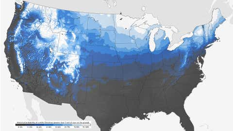 Historical probabilities of a White Christmas. (NOAA/Climate.gov)