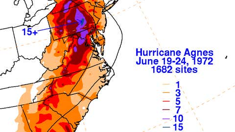 A graphic showing rainfall in inches associated with Hurricane Agnes.