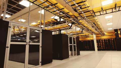 """The NCAR-Wyoming Supercomputing Center officially opened Monday, Oct. 15, 2012 in Cheyenne. The supercomputer """"Yellowstone"""", one of the most powerful on earth, will be used to study weather, climate, oceanography, and other areas of earth science. (AP Photo/Star-Tribune, Alan Rogers)"""