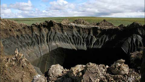 A view of the giant hole in Siberia, Russia. (Marya Zulinova, press service of the Governor YaNAO)