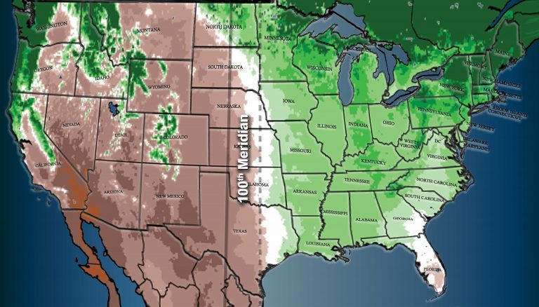 100th Meridian, Which Divides the Arid West From the More Humid East ...