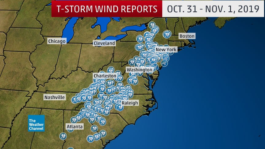 Severe Thunderstorms With Damaging Winds, Tornadoes and Flash Flooding Slammed the East on Halloween