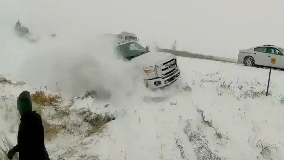 Close Call Along Snowy Interstate in Iowa