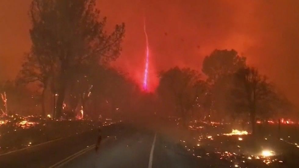 watch firenado whirl above paradise  california