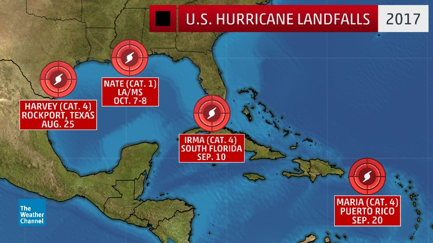 For First Time Since 2005 Four Hurricanes Make U S