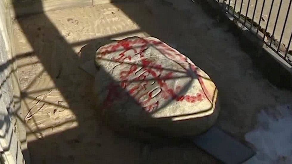 Plymouth Rock, Site Where Pilgrims First Landed, Vandalized