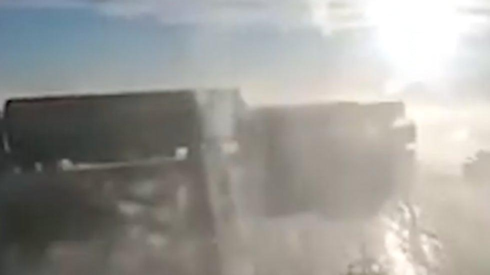 Trucker's Dashcam Captures Terrifying Pileup in Wyoming