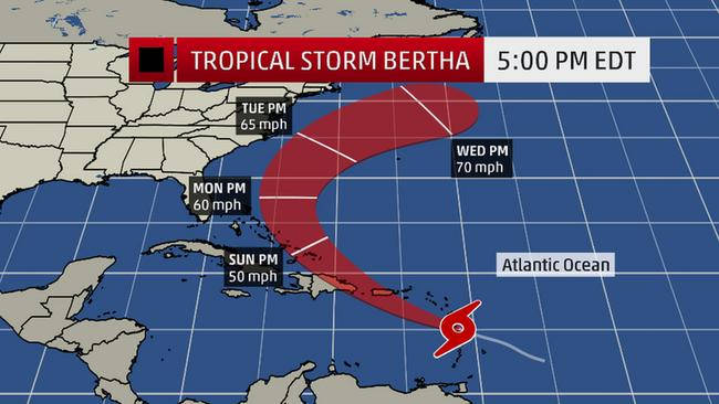 tropical storm bertha  only minor damage as storm moves
