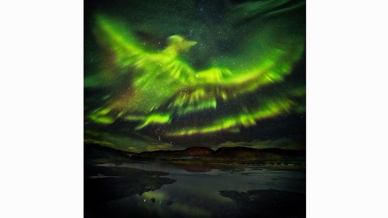 photographer sees  u0026 39 giant phoenix u0026 39  in northern lights