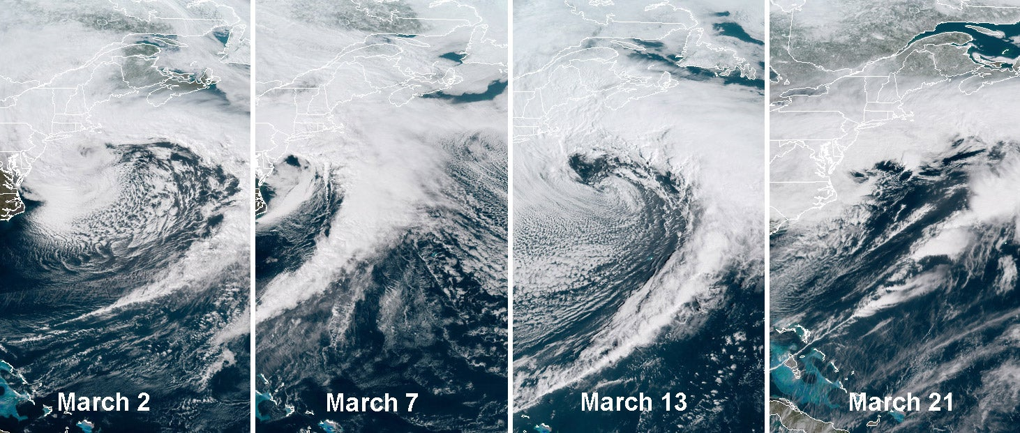 Here's What Four Nor'easters in Three Weeks Looks Like From Space