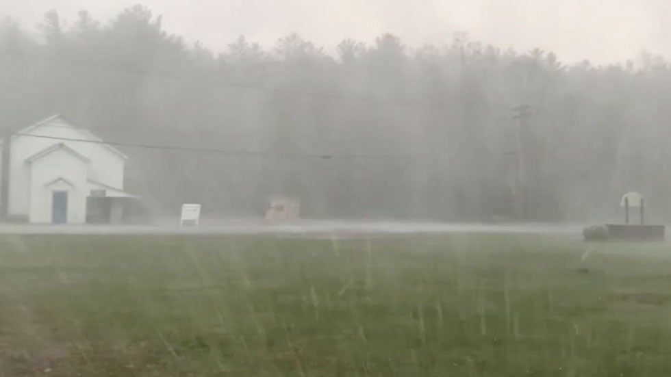 Watch Storm's Winds Suddenly Strengthen While Striking Corinth, New York