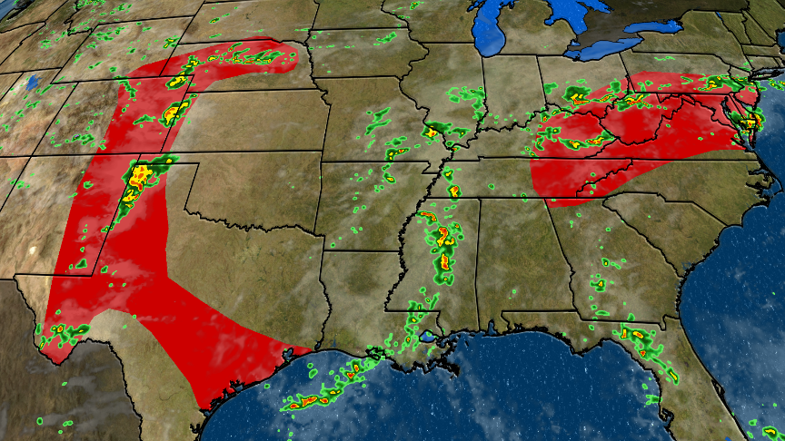 Thunderstorms, Flooding and Some Severe Forecast from Plains to Mid-Atlantic