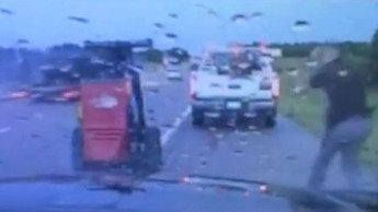 Oklahoma State Trooper Gets a Scare in Summer Thunderstorm