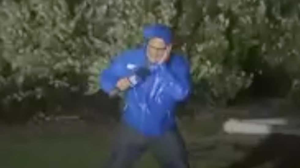 Jim Cantore Battered By High Winds from Isaias