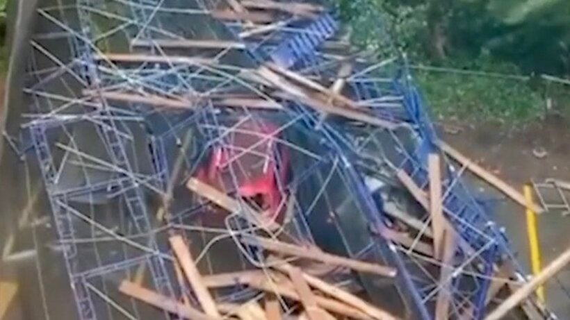Watch as Scaffolding Comes Crashing Down During Isaias