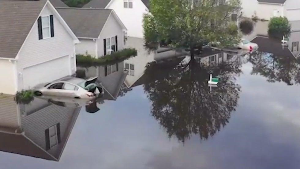 drone shows entire north carolina neighborhood underwater