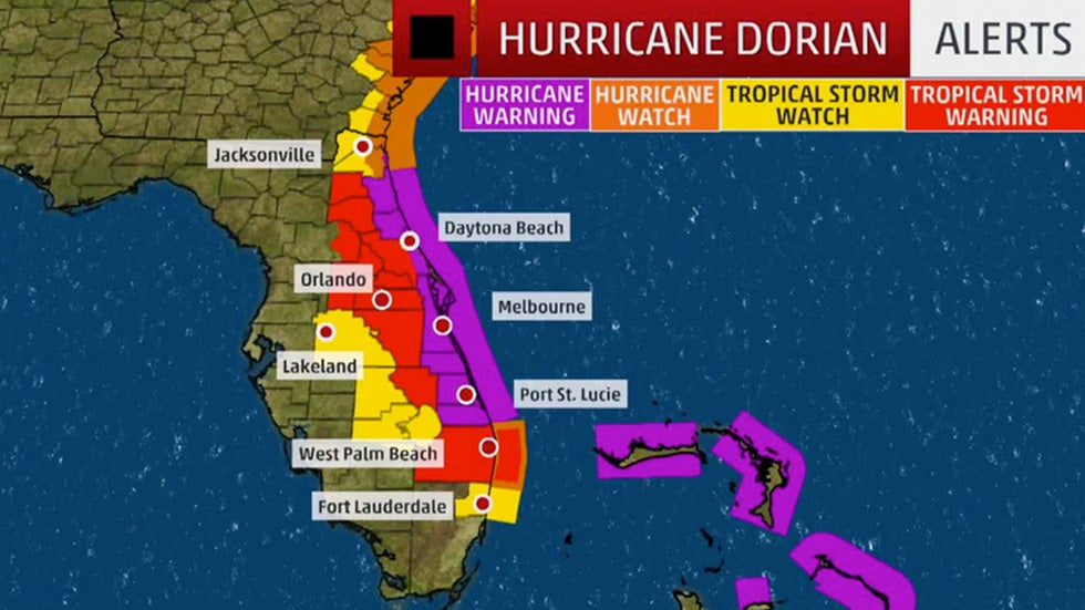 dorian triggers hurricane watches and warnings for florida