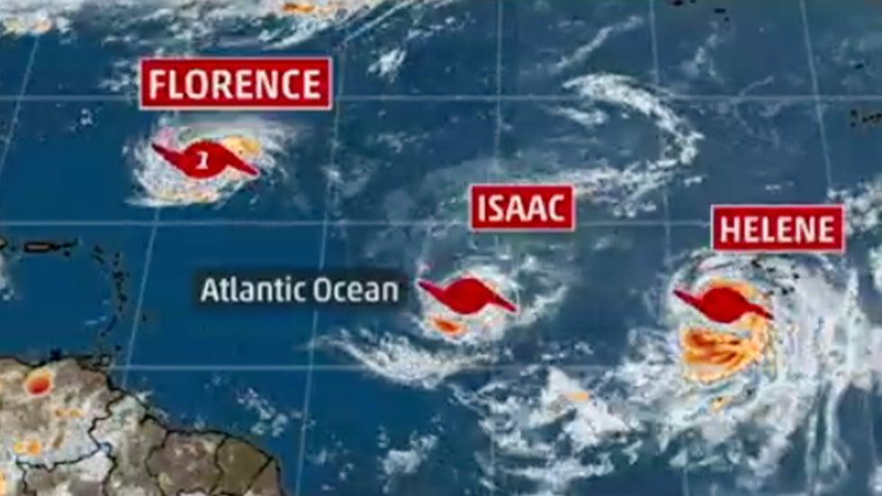 hurricanes helene  isaac join busy atlantic